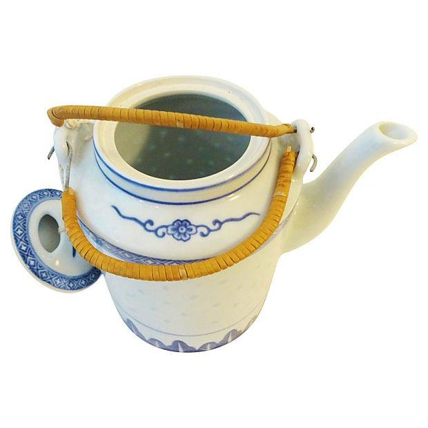 Rice Grain Porcelain Tea Pot & Cups - Set of 6 - Image 6 of 7