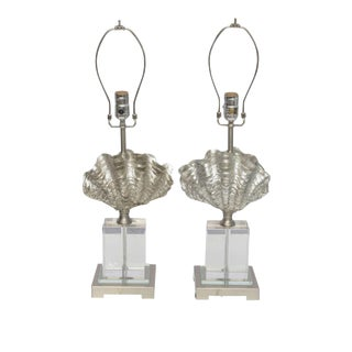 Lucite, Chrome and Silver leaf Shell Lamps, 2000 America
