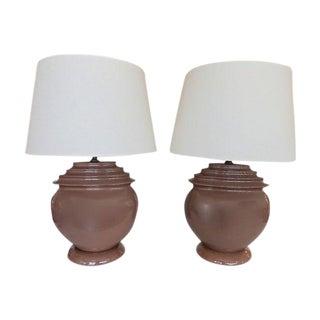Large Signed Ceramic Lamps - Pair