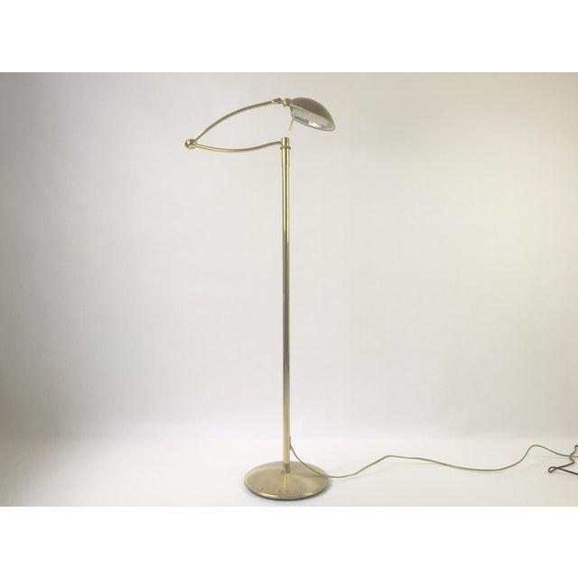brass swing arm holtkoetter floor lamp chairish. Black Bedroom Furniture Sets. Home Design Ideas