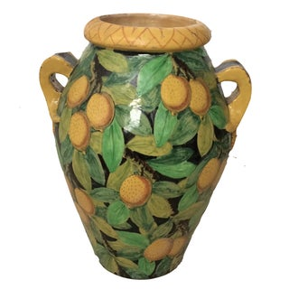 Italian Lemon Decorated Pottery Urn