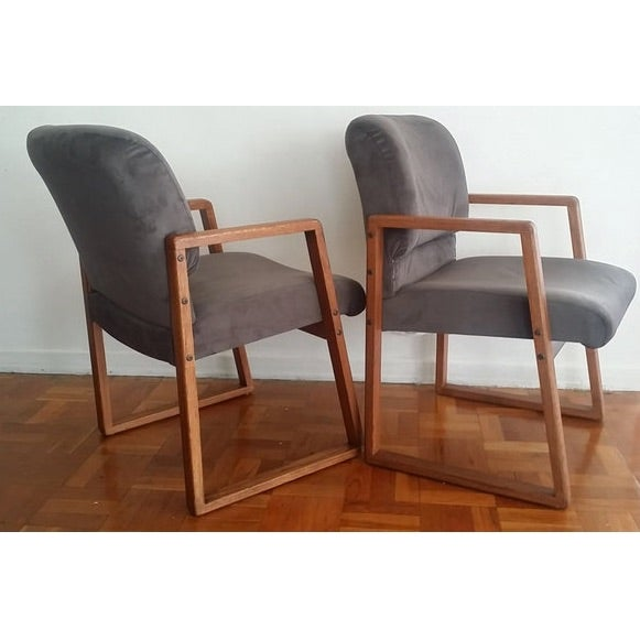Mid-Century Modern Grey Cube Club Armchairs - Pair - Image 3 of 6