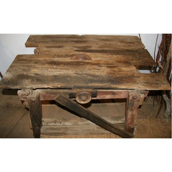 Antique Primitive Saw Table and Side Table - Image 5 of 6