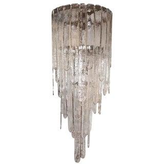 Murano Battuto Glass Chandelier By Mazzega