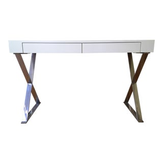 Modern White Lacquer X-Base Console Table