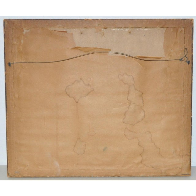 """Abraham Goldberg """"Coastal Scene w/ Figures"""" Pastel Painting c.1930s - Image 7 of 7"""