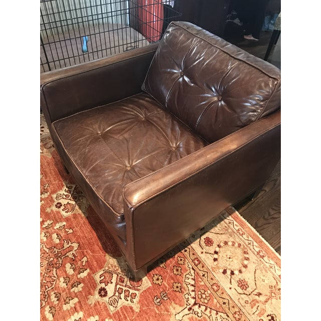 Tufted Brown Leather Armchair - Image 3 of 4