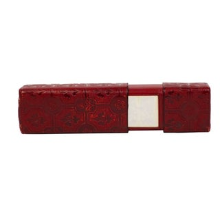 Oxblood Leather Fleur-De-Lis Box With Mirror