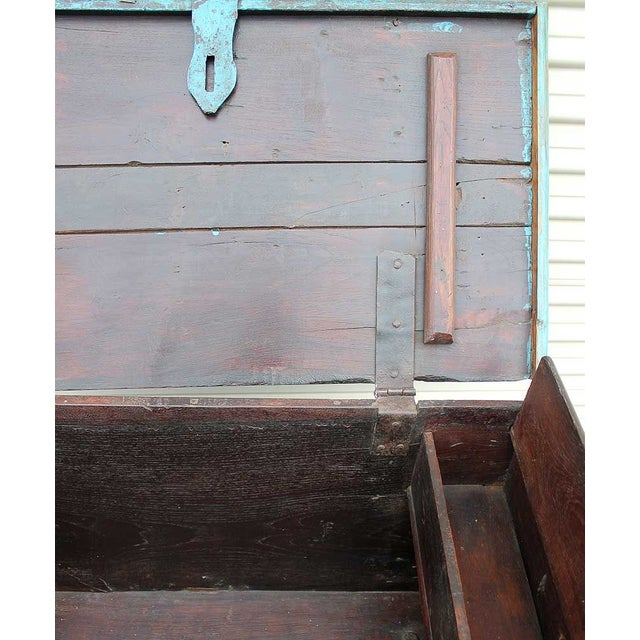 Vintage Teal Wheeled Wood Chest - Image 4 of 5