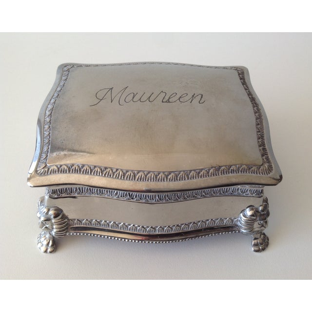 Silver Plated Lion-Footed Engraved Keepsake Box - Image 6 of 11
