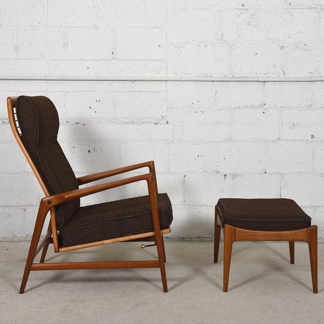 Kofod Larsen Danish Modern Teak Adjustable Lounge Chair with Ottoman - Image 3 of 10