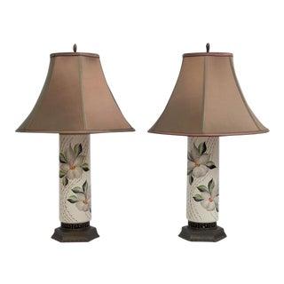 Greek Key Magnolia Lamps - A Pair