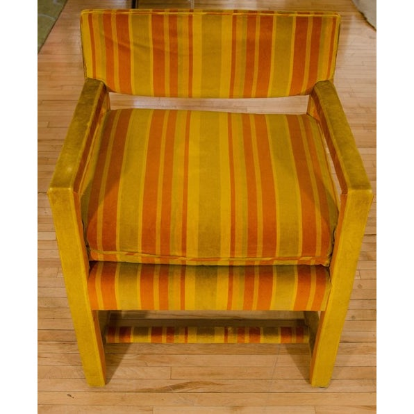 Mid-Century Orange Striped Velvet Armchairs - Pair - Image 3 of 10