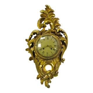 Antique Swedish Gold Gilt Wall Clock