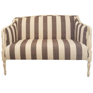 Charcoal Black & White Striped Settee