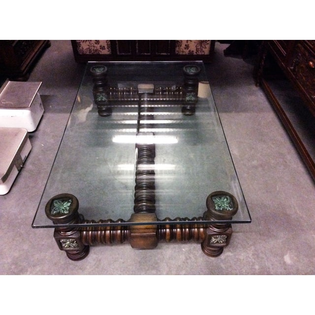 Vintage Dark Wood Spindle Leg Glass Coffee Table Chairish