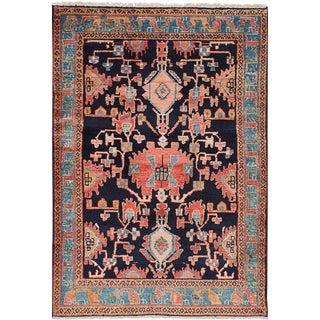 Peach & Navy Nahavand Persian Rug - 4′3″ × 6′5″