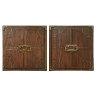 Vintage Campaign Walnut Cube Side Tables - A Pair