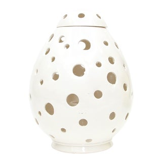 Moroccan Hand Painted White Egg Lamp Shell