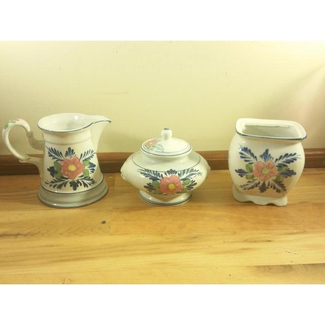 Image of Pink Floral Ceramic Serving Set