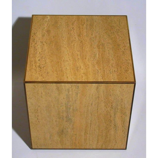 Travertine & Brass Cube Table - Image 3 of 4