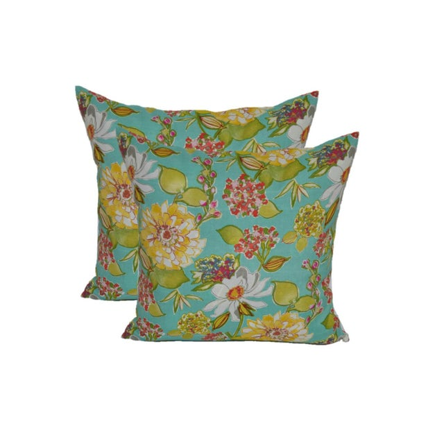 Image of Turquoise Pink Figi Floral Outdoor Pillows - Pair
