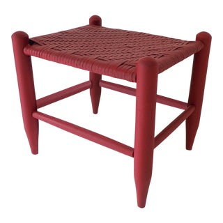 Thatched Stool Maroon/Red Painted 15 x 12 x 13.5H Excellent