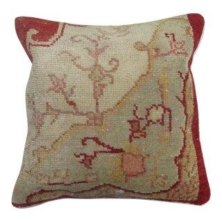 Red Turkish Oushak Rug Pillow