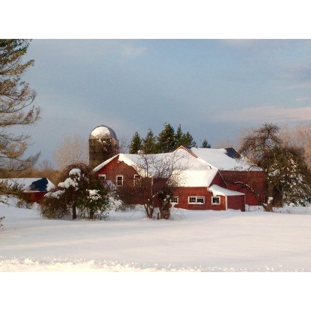 Image of Red Barn in Winter Photograph by Josh Moulton