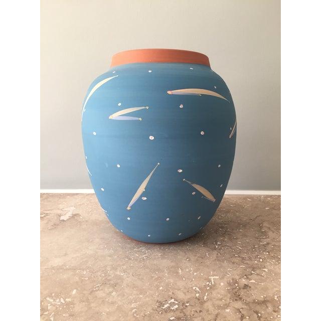 Blue Terra Cotta Decorative Vase - Image 2 of 6