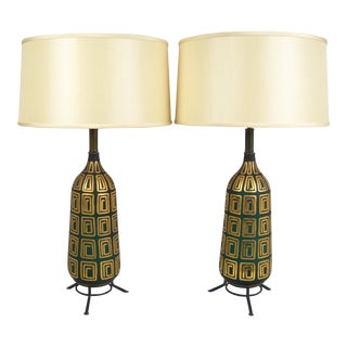 Mid-Century Gilded Glass Lamps - A Pair