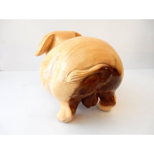 Han Carved Wooden Happy Pig Sculpture Chairish