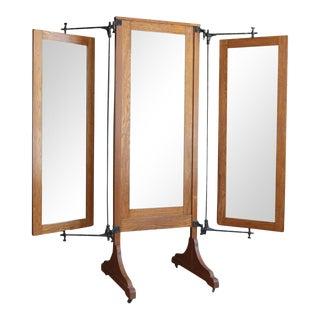 Antique Oak Tri-Fold Dressing Mirror