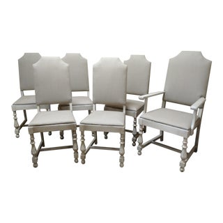1930's Reupholstered & Painted Dining Chairs - Set of 6