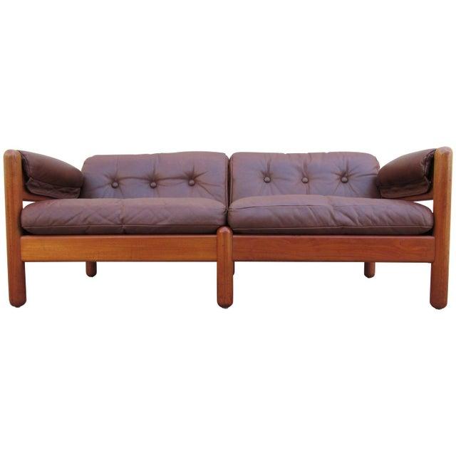 makael laursen teak leather danish modern sofa chairish