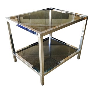Mid Century Chrome Side Table with Smoked Glass Bi-Level