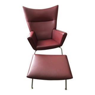 Hans J. Wegner for Carl Hansen & Søn Burgundy Wingback Chair and Ottoman
