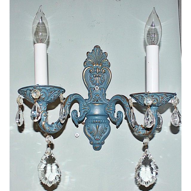 Blue Brass Sconces - Pair - Image 4 of 6