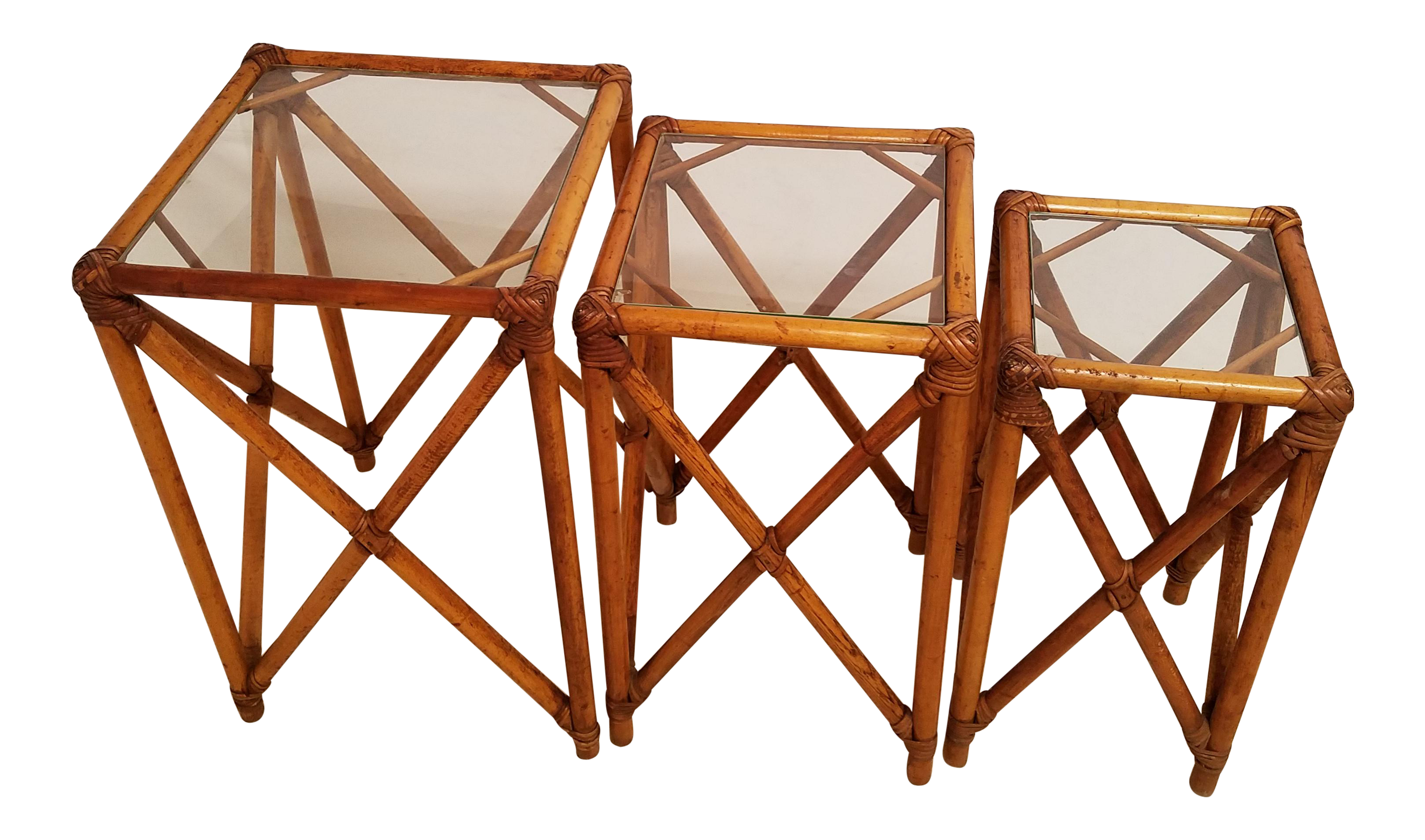 Vintage Bamboo Rattan Square Glass Top Nesting Tables   Set Of 3