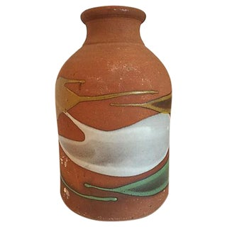 Partially Glazed Artistic Pottery Bottle