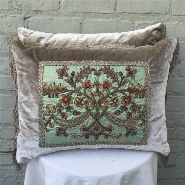 Metallic & Chenille Embroidered Pillows - Pair - Image 2 of 5