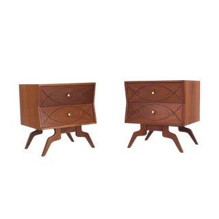 "Pair of ""Fish"" Design Walnut Nightstands"