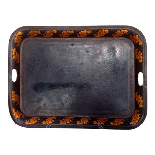 Antique Black and Gold Painted Tole Tray