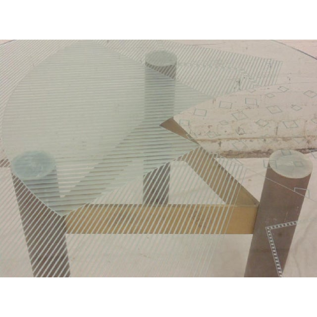 1986 Modernage Miami Postmodern Glass & Brass Geometric Dining Table - Image 4 of 6
