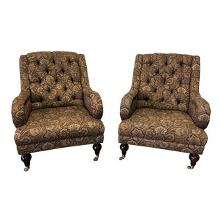"Hickory Chair ""Gabriela"" Button Tufted Club Chairs - A Pair"