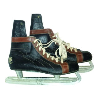 Vintage 1940's Leather Hockey Skates - A Pair