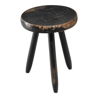 Charlotte Perriand high black stool, France, 1950s