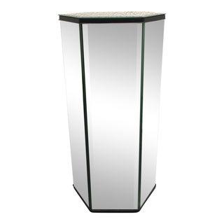 Mid-Century Mirror Octagon Pedestal Table