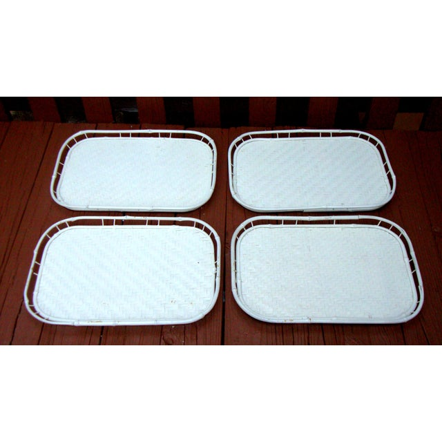 Hollywood Regency White Bamboo Rattan Trays - Image 2 of 11