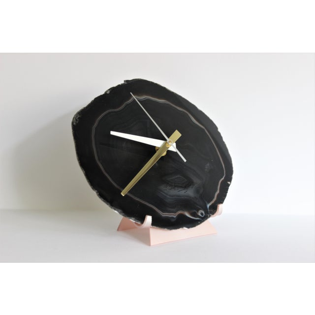 Black Agate Slice Desk Clock - Image 6 of 7